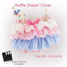 Ruffle Bum Diaper Cover PDF Sewing Pattern with video tutorial by VintageToNew