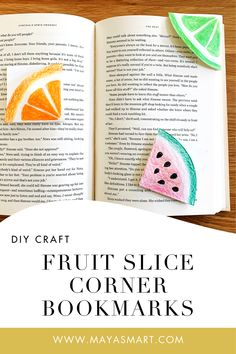 Make your own fruit slice corner bookmarks for summer! These sweet DIY bookmarks are a fun craft for kids and the perfect way to kick-off summer reading! #summerreading #kidsbookmarkcraft #diybookmarks #summercraftideasforkids Paper Bag Crafts, Tissue Paper Crafts, Glue Crafts, Book Crafts, Bookmark Craft, Diy Bookmarks, Corner Bookmarks, Fun Crafts For Kids, Summer Crafts