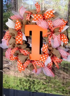 Orange and White University of Tennessee Volunteers / Vols - inspired Burlap and Ribbon Wreath - Chevron Polka Dots www.etsy.com/shop/simplyblessedgift