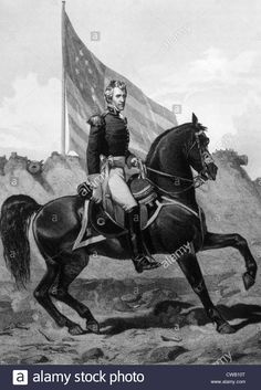 General Andrew Jackson at the Battle of New Orleans in 1815, engraving 1858 Stock Photo