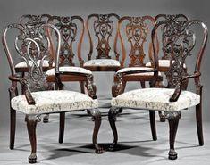 Set of twelve fine, Irish, George III style dining chairs