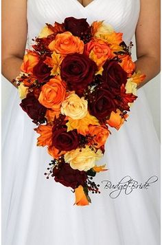 Cascading fall wedding bouquet with dark red, orange and yellow with berries and. - Cascading fall wedding bouquet with dark red, orange and yellow with berries and fall maple leaves brides bouquet Spring Wedding Bouquets, Fall Wedding Bouquets, Fall Wedding Flowers, Fall Wedding Decorations, Fall Wedding Colors, Bride Bouquets, Flower Bouquet Wedding, Flower Bouquets, Orange Wedding Decor