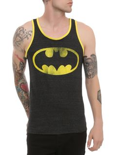 Heather black tank top with distressed Batman logo and yellow trim.