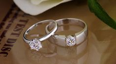 Cubic Zirconia Couple's His and Her Matching Promise Rings in 925 Sterling Silver
