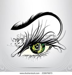 Vector silhouette of eyes with cat - stock vector