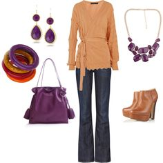 Purple Tan Fall Outfit Casual Friday, created by glennadesigns.polyvore.com