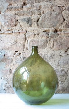 Glass Generous Free-blown French Antique Green Glass Demijohn Carboy