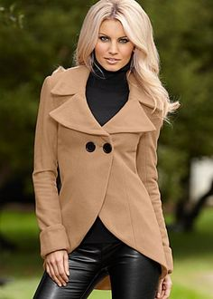 Two button women's coat available in black or camel