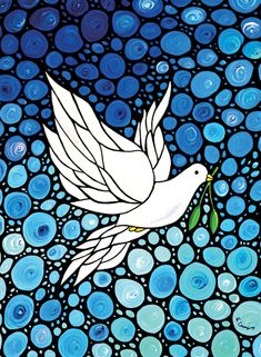 Dove Art Print from Painting Flowers Blue Peaceful Doves White CANVAS Ready To Hang Large Artwork Spiritual Peace Bird Christian Art Mosaic on Etsy, kr Blue Mosaic, Mosaic Art, Peace Bird, Peace Dove, Fine Art Amerika, Large Artwork, White Doves, Dot Painting, Painting Flowers