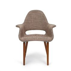 Replica Eames Saarinen Organic Commercial Grade Fabric Upholstered Dining Armchair - Light Brown