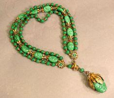 "rare Vintage 17"" Miriam Haskell Green Glass Multi-Strand Necklace Choker Pendant #MiriamHaskell #Baroque"
