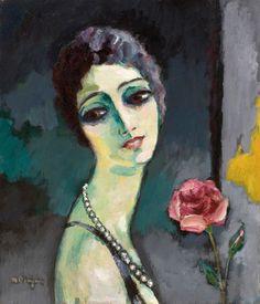 Kees Van Dongen (1877-1968),   Portrait de Madeleine Grey à la rose, 1929