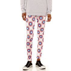 Marvel Captain America Leggings (4.350 HUF) ❤ liked on Polyvore featuring pants, leggings, sport pants, sports leggings, white leggings, white legging pants and leggings pants