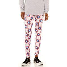 Marvel Captain America Leggings (4.350 HUF) ❤ liked on Polyvore featuring pants, leggings, sport pants, sports leggings, white leggings, white legging pants and leggings pants