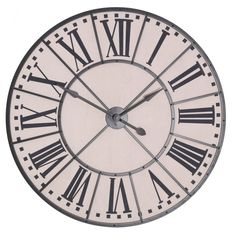Large Vintage Wall Clock Made from metal and MDF, battery powered finished in zinc effect. This clock measures at Meters.