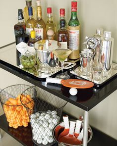 Bar Cart with wire baskets