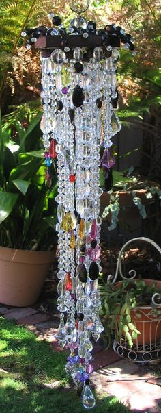 Bo Ho Gypsy meets Gothic bling suncatcher, cascading multicolour and black hanging crystals for window or outdoor decor on Etsy, $65.34