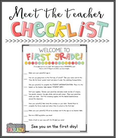 The First Grade Parade: Meet the Teacher Freebies!it's about that time. Time to go back to school. Do I hear a resonating sigh? Or are you ready for routine and structure? Teacher Freebies, Kindergarten Teachers, Elementary Teacher, Teacher Resources, Elementary Schools, Kindergarten Orientation, Teaching Ideas, Teacher Checklist, Teacher Hacks