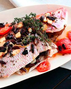 Emeril's Whole Roasted Red Snapper Chef Recipes, Fish Recipes, Seafood Recipes, Food Network Recipes, Cooking Recipes, Potato Tomato Recipe, Potato Recipes, Whole Red Snapper Recipes, Emeril Lagasse Recipes