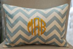 Monogrammed Light Blue Chevron Print Throw by tootledoodesigns, $35.00