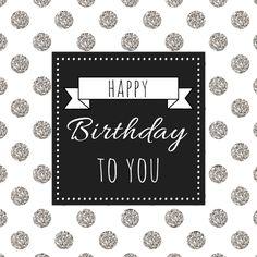 Verjaardagskaartje met glitter stippen en zwart vlak met tekst. De glitter op de kaart is gedrukt; er zit geen echte glitter op de kaart.