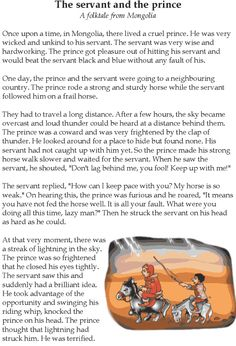 Grade 5 Reading Lesson 11 Fables And Folktales The Servant And The Prince 1 Stories With Moral Lessons, English Moral Stories, English Stories For Kids, Moral Stories For Kids, Short Stories For Kids, English Story, Reading Stories, Reading Comprehension Worksheets, Reading Fluency