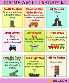 Transport and Travel Idioms! List of travel idioms and transport idioms with meaning, ESL pictures and example sentences. Learn these idiomatic expressions about travel and transport to improve your vocabulary and communication skills in English. English Teaching Materials, English Writing Skills, Teaching English, English Idioms, English Phrases, Learn English Words, Grammar And Vocabulary, English Vocabulary Words, Travel English