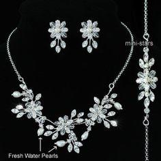 Bridal Wedding Pearl Necklace Silver Plated Bracelet Earrings Set S1213