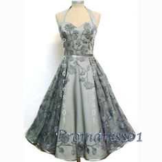 2015 vintage embroidery tulle open back tea length prom dress for teens, retro ball gown, bridal dress #promdress #wedding #coniefox