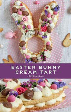 Easter Bunny Cream Tart - make your own trendy cream tart for Easter and get a free bunny-shaped template!