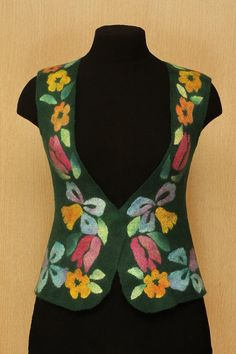 Sea of Flowers / Felted Clothing / Vest by LybaV on Etsy, $160.00