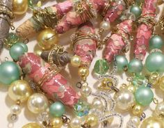 handmade paper beads made from paper cut with decorative scissors