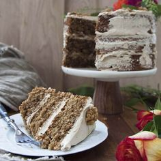 A three layer walnut sponge layered and topped with coffee flavored Swiss meringue buttercream. A traditional British cake.