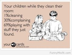 Children cleaning their room.