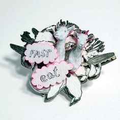Bety Majernikova - Eat Fast  brooch - from the series Garden of Earth 2011,  pvc, perspex, different materials, acryl paint
