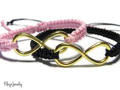 Gold Infinity Bracelets by ElwynJewelry Couple Jewelry, Couple Bracelets, Black Bracelets, Cord Bracelets, Bracelets For Men, Infinity Bracelets, Friendship Bracelets, Infinity Charm, Bracelet Making