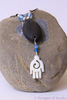 Ebony & Ivory Maine Beach Stone Necklace by DesignsofAcadia, $23.00