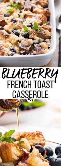 If you need an easy breakfast dish you can make ahead of time, this blueberry french toast casserole recipe is just perfect! Fluffy brioche (or white bread) is cut up and mixed with the fruit, then soaked in a simple batter overnight. The streusel topping is quick to add in the morning and turns wonderfully crunchy while the casserole is baked in the oven. This is the best homemade brunch idea for Christmas morning, Mother's Day or anytime of the year!
