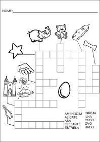 Saber e Saberes: Cruzadinhas com banco de palavras Crossword, Reading Activities, Kids Learning Activities, Preschool Literacy Activities, Letter E Activities, Abc Centers, Kids Activity Ideas, Crossword Puzzles, Index Cards