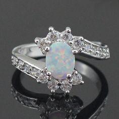 HAIMIS Drop Schip Wit Vuur Opaal CZ Mode-sieraden Vrouwen Opaal Ringen Maat 6 7 8 9 19 W