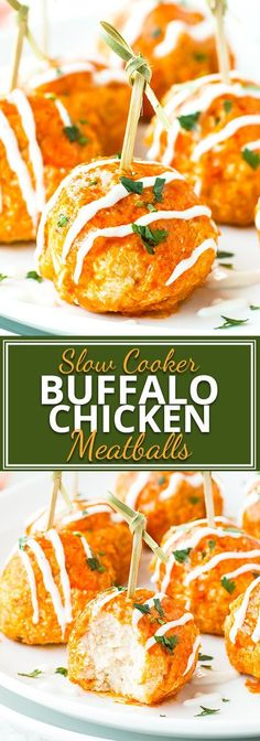 Slow Cooker Buffalo Chicken Meatballs are a super simple, easy, and low-carb appetizer recipe for game days, holiday parties, or Super Bowl parties!   They are a great New Year's Eve appetizer, Super Bowl appetizer, and game day appetizer!