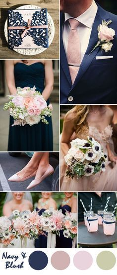 navy blue and blush pink wedding color inspiration . - navy blue and blush pink wedding color inspiration More - Pink Wedding Colors, Blush Pink Weddings, Wedding Color Schemes, Wedding Flowers, Wedding Color Palettes, Colour Schemes, Color Combos, Wedding Colora, Wedding Bouquets