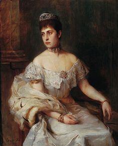 Duchess Charlotte of Saxe-Meiningen, née Princess of Prussia ca 1890. Artist: Artist Philip Alexius de László