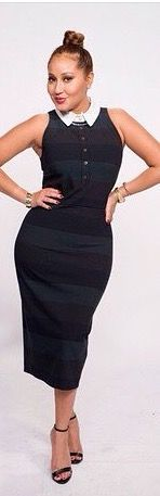 Adrienne Bailon The Real Daytime white collar layered under stripe midi dress