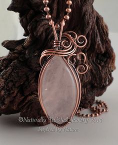 Wire Wrapped Pendant Pink Rose Quartz Necklace in by Naturally Twisted Jewelry