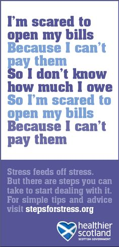 Scottish Government. Small space press ads promoting wellbeing and stress advice.