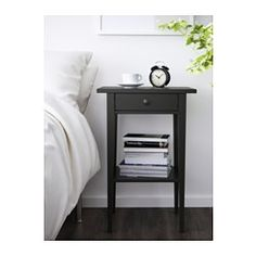 IKEA - HEMNES, Nightstand, black-brown, Smooth running drawer with pull-out stop. Made of solid wood, which is a durable and warm natural material. Coordinates with other furniture in the HEMNES series. Ikea Hemnes Nightstand, Bedside Table Ikea, Black Nightstand, Yellow Side Table, Side Table With Drawer, Bedroom Black, Bedroom Furniture, Furniture Nyc, Cheap Furniture