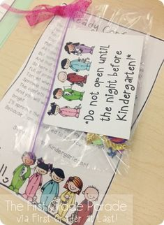 """Don't open until the night before kindergarten.""  (A student gift idea)  From The First Grade Parade"