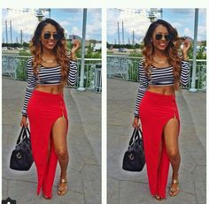 Red Maxi dress + Striped crop top=Perfection