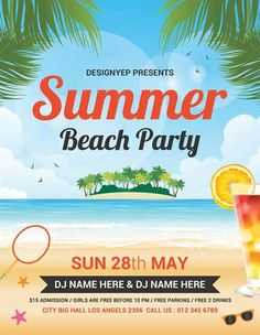 Summer Beach Party Free Flyer PSD Template - http://freepsdflyer.com/summer-beach-party-free-flyer-psd-template/ Enjoy downloading the Summer Beach Party Free Flyer PSD Template by Designyep!  #Beach, #Festival, #Flyer, #Party, #Print, #Summer